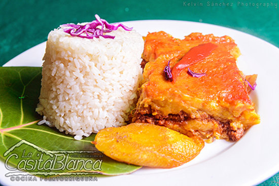 La Casita Blanca : Pastelón de Amarillos (Puerto Rican lasagna made with layers of thinly cut, fried ripe plantains