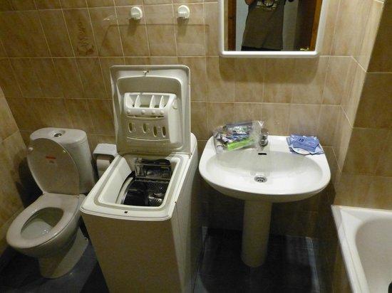 Apartments La Pineda : łazienka z pralką