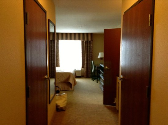Comfort Inn & Suites McMinnville: Ample closet with in-room iron and ironing board. Bathroom is satisfactory. Only 1 sink.