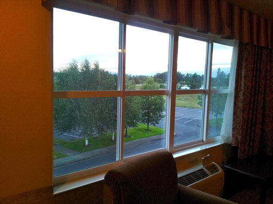 Comfort Inn & Suites McMinnville: Medical facility is beyond the trees and trailer park is in the far distance. Neither was a prob