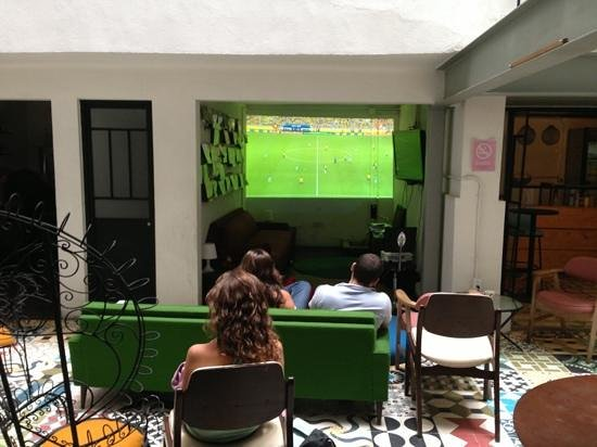 Stayinn Barefoot Condesa: Watching a soccer match with our new projector.