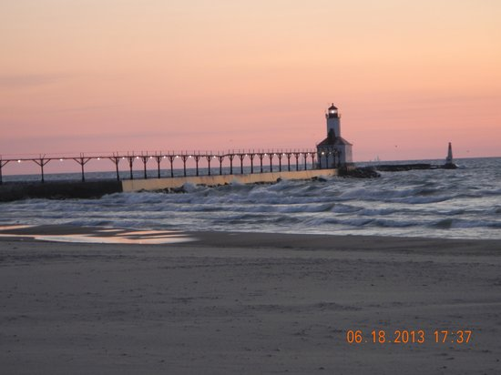 Michigan City, IN: lighhouse and light waves