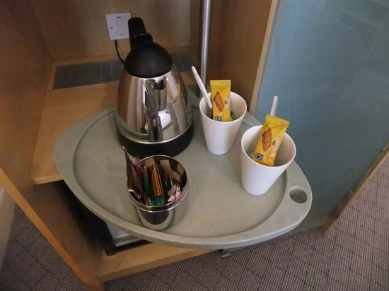 The Cumberland: tea/coffee making with nice mugs!   fridge under this