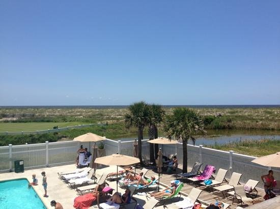 Pelicatessen: looking out over the Cape Fear River and Atlantic Ocean from the Pelicatessan.