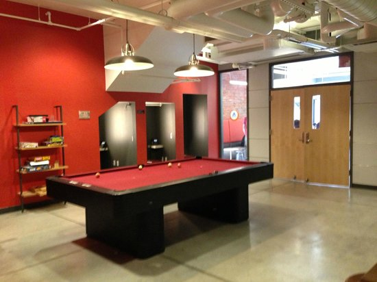 Hostelling International - Boston: Pool table in the games area.