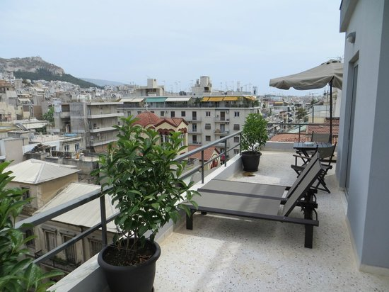 Areos Hotel: Balcony of the top floor suite