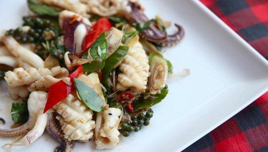 Baba Soul Food: Phad Cha Pla Meuk at Baba Sould Food Top Restaurants in Phuket Thailand