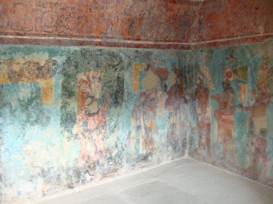 Murals picture of mayan ruins of bonampak chiapas for Bonampak mural painting
