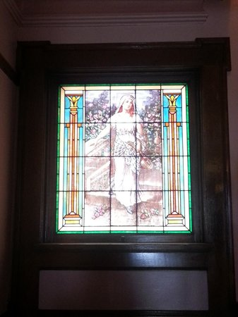 Mandolin Inn Bed and Breakfast: The stained glass window that inspired the name: St. Cecilia with Mandolin
