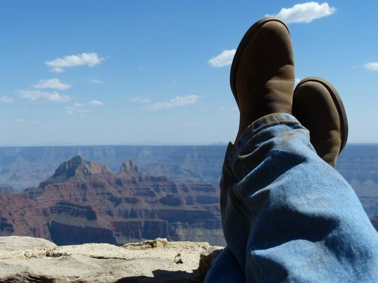Grand Canyon Lodge - North Rim: Relaxing on the veranda after a mule ride.