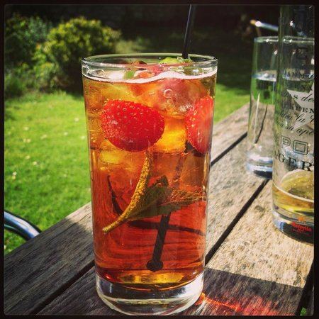 The Worsley Arms Hotel: Enjoying a perfect Pims in the hotel gardens