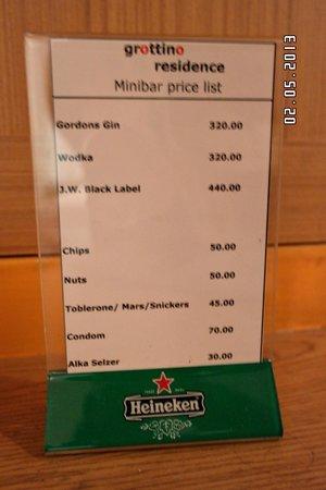 iCheck inn Sukhumvit 19 : price list of items in room