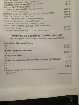 Ecailler Chez Georges: Меню