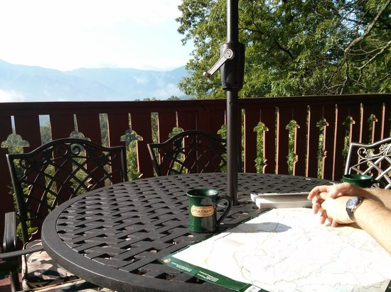 The Foxtrot Bed and Breakfast: Having coffee and planning our hike on the back deck of the Foxtrot