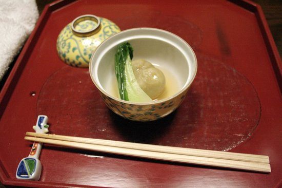 Kikko: Bun of Chestnut, including a shrimp, Ginkgo nut and  Shi-take mushroom in Guin-an soup. Greens o