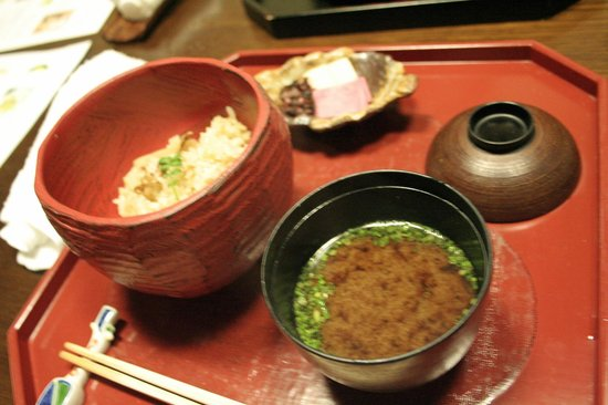 Kikko: Matsutake mushroom flavored rice, served with  red Miso soup and pickles.