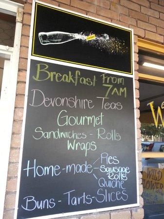 Die Barossa Wurst Haus & Bakery: menu board
