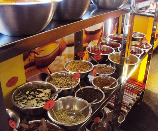 Meenachee's North & South Indian Cuisine: Various spices for sale in store