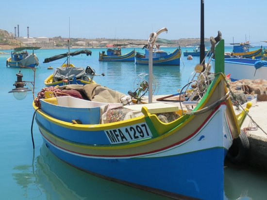 Southport Villa and Gardens : Marsaxlokk Harbour with traditional fishing boats