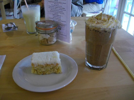 Cafe Latte: Lemon and coconut cake and a chocolate milkshake