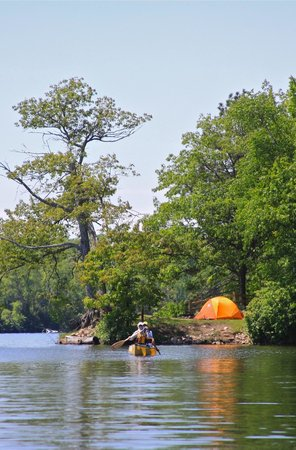 Turtle - Flambeau Flowage: Campsites are perched on knolls overlooking the complex of bays and islands.
