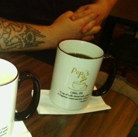 Pop's Coffee Shoppe: Enjoying a fresh brewed cup of Peruvian coffee.