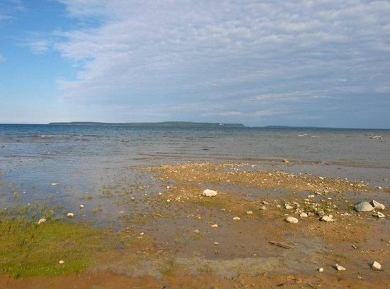 Breakers Resort - Lakeside: Beach  looking at mackinaw Island