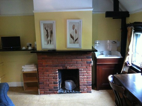 The Leather Bottle: Fire place, Hand basin and TV in our room