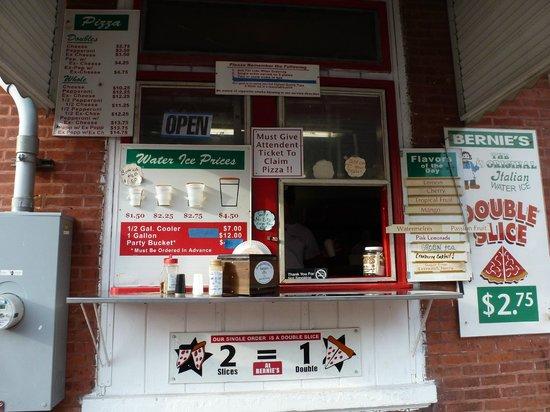 Bernie's Original Italian Ice: Bernie's ordering window
