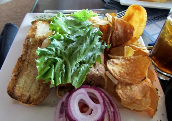 Riverhouse Reef & Grill: Fried Group Sandwich and Chips...YUMMY!