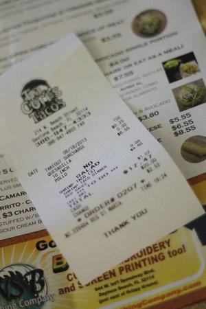 Tia Cori's Tacos: price