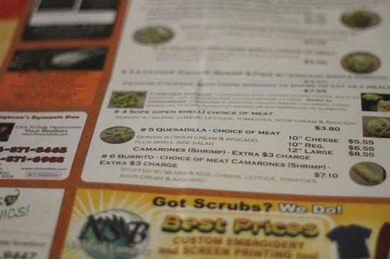 Tia Cori's Tacos: menu