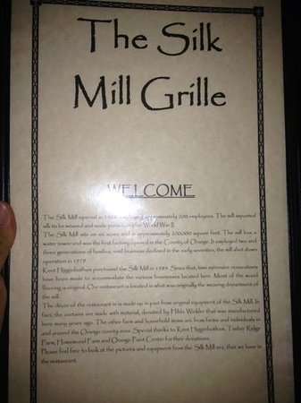 Silk Mill Grille: from the menu...