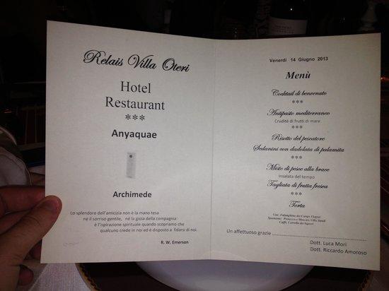 Villa Oteri: menu