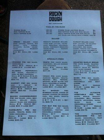 Rock 'n' Dough Pizza Co.: pizza menu
