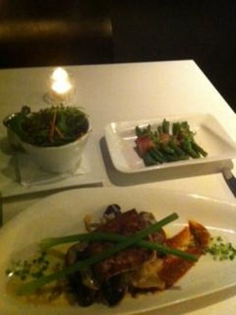 Vue Restaurant: Fish of the Day (KingFish); Beans with Pancetta and Garden Salad