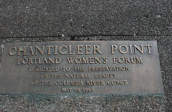 Portland Women's Forum State Scenic Viewpoint: Dedication plaque at the monument site