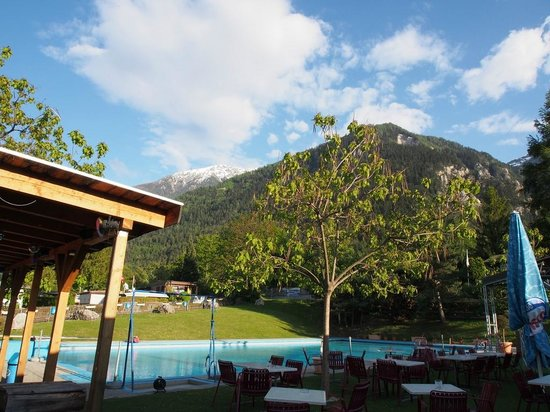 Bella Tola Camping: View from bar/restaurant to pool
