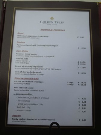 Golden Tulip Olymp Hotel : Dinner menu