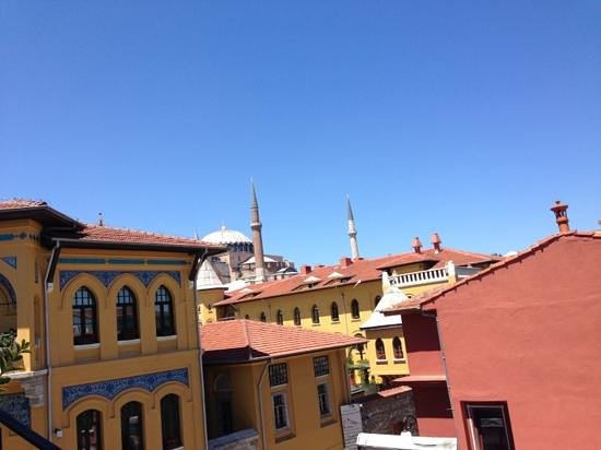 Istanbul Hostel: view from rooftop terrace. Aya Sofia