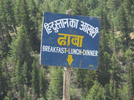 Chitkul, India: dhaba signage