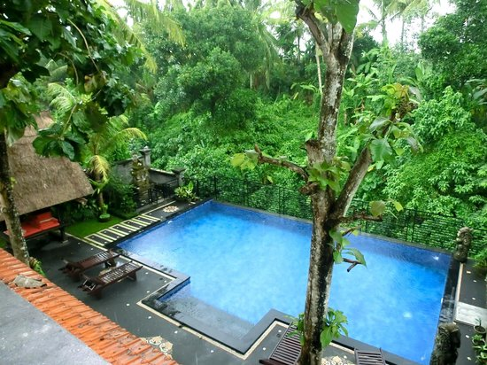 Pondok Pundi Village Inn & Spa: View of the pool from Room 201 terrace