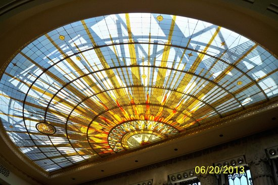"Buffalo City Hall: Stained glass skylight ""Universe"" in Council Chambers"