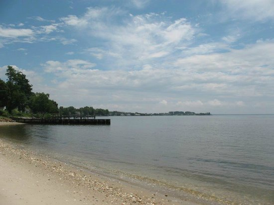 Sandaway Waterfront Lodging: Looking downriver from the beach.