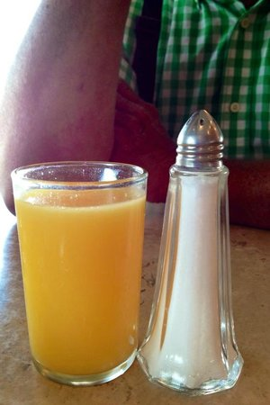 Kling House: tiny little orange juice served as the only beverage with breakfast