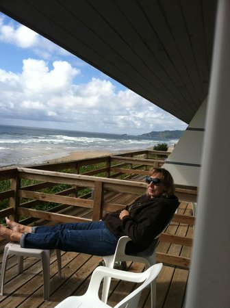 Moolack Shores Motel: My wife on  the deck of our room