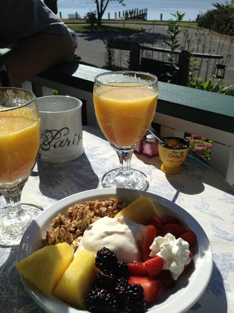 Stirling House Bed and Breakfast: Fresh fruit, home made mascarpone, granola, juice