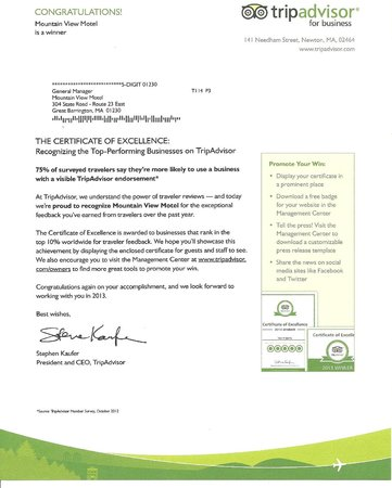 Mountain View Motel: 2013 Excellence Certificate Letter