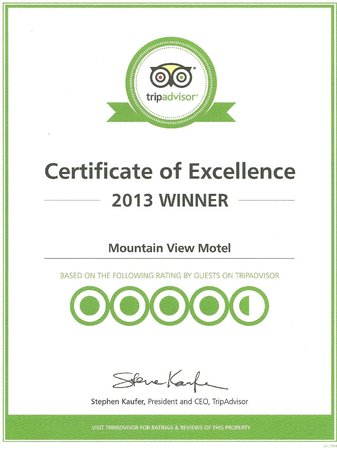 Mountain View Motel : 2013 Excellence Certificate