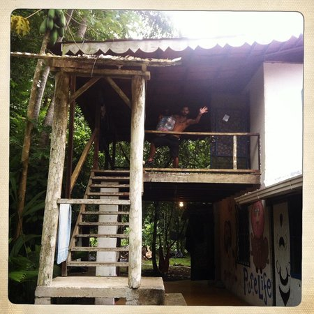 La Ruka Hostel : Stairs leading up to a 6 bedroom dorm